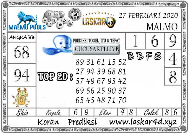 Prediksi Togel MALMO LASKAR4D 27 FEBRUARI 2020
