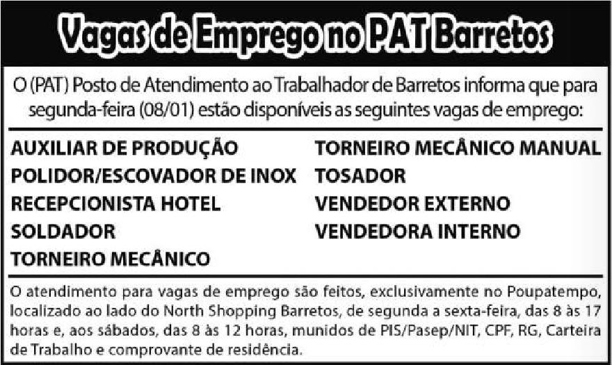 VAGAS DE EMPREGO DO PAT BARRETOS-SP  PARA 08/01/2018 (SEGUNDA-FEIRA)