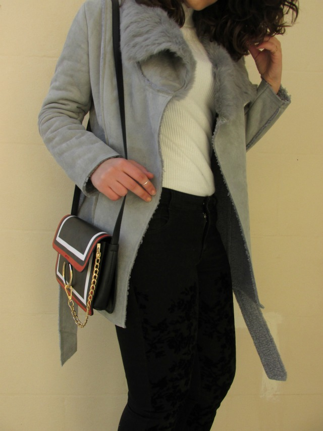 christmas outfit, Zaful grey fur coat, festive season outfit staples