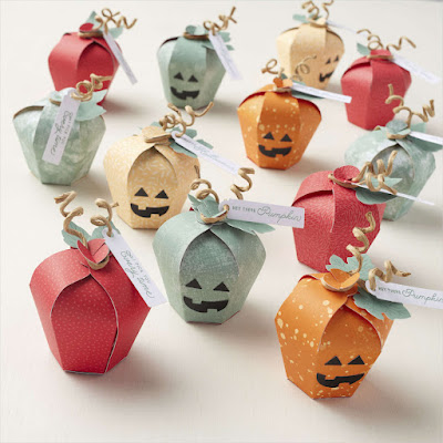 Cute Halloween or Thanksgiving Treat Holders from the Stampin' Up! Haunts & Harvest Paper Pumpkin Refill Kit
