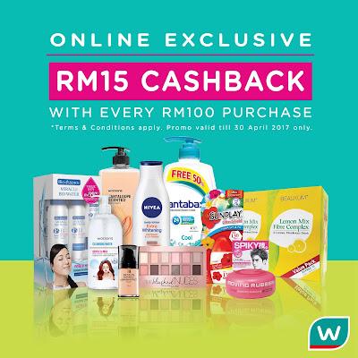 Watsons Malaysia Online Store Cashback Promo