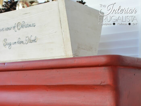 Holiday Inspired Antique Empire Red Dresser Makeover