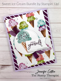 Sweet Ice Cream Bundle by Stampin' Up!.  I show how to make this card in my Facebook Live weekly video (link to same video on YouTube on the blog post).  #StampinUp #StampTherapist #SweetIceCream