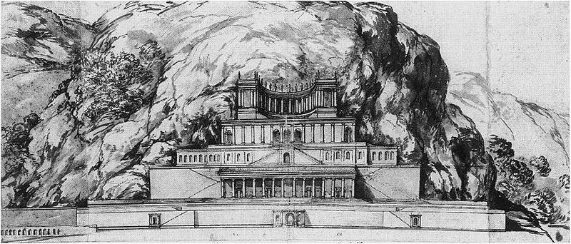 Reconstruction of the temple of Fortuna Primigenia at Palestrina by Pietro da Cortona (1596 to 1669 CE)