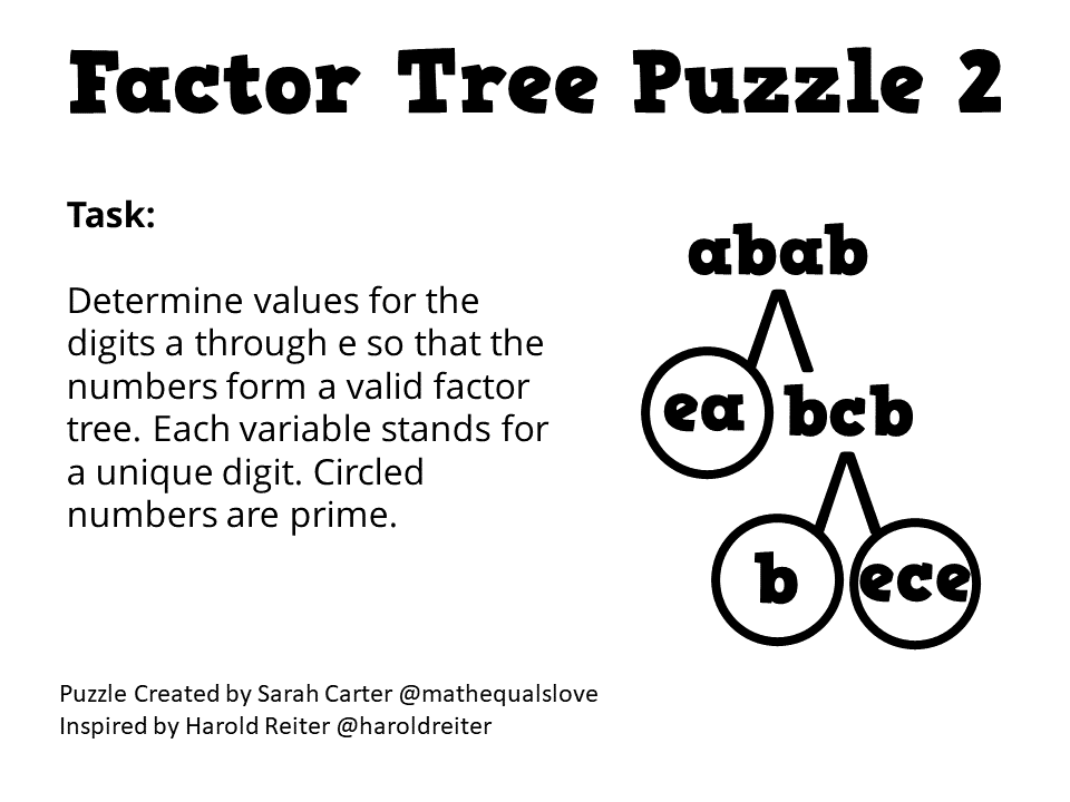 Math = Love: Factor Tree Puzzles