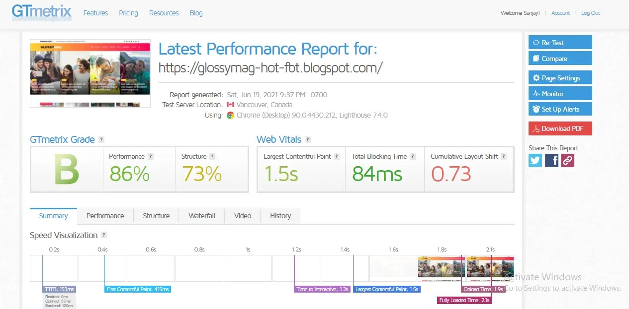 GlossyMag-Blogger-Template-web-speed-test