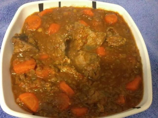 Receita de lentilhas com carne e cenoura