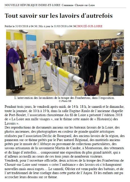 Article NR 31 mars 2018 Au Fil de Loire exposition Histoire(s) et Lavoirs