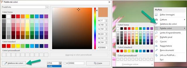 palette e selettori dei colori di picpick