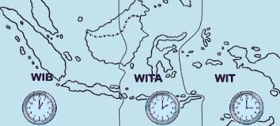 Pembagian Waktu di Indonesia (WIB, WITA dan WIT) Beserta Daerah