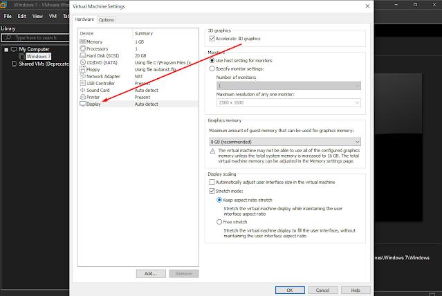 Setting Display VMware agar tidak berubah secara otomatis