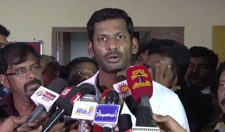 Tamil film producer council press meet : Actor Vishal, Director R.K.Selvamani and Actor Prakashraj