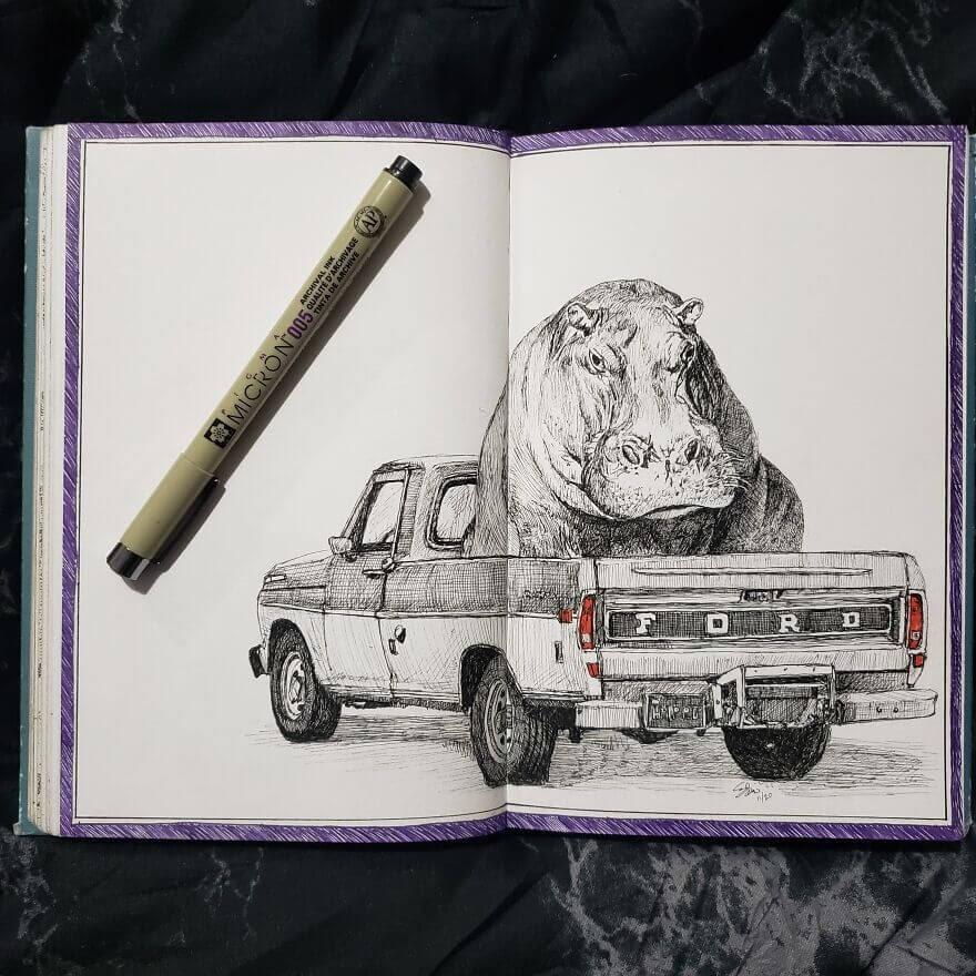 01-A-Carpooling-Hippo-Andy-Saputo-www-designstack-co
