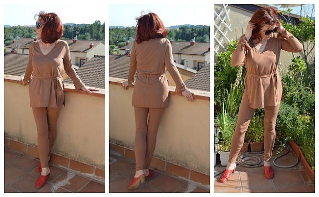 Femmeluxe Brown Ribbed Belted Loungewear Set