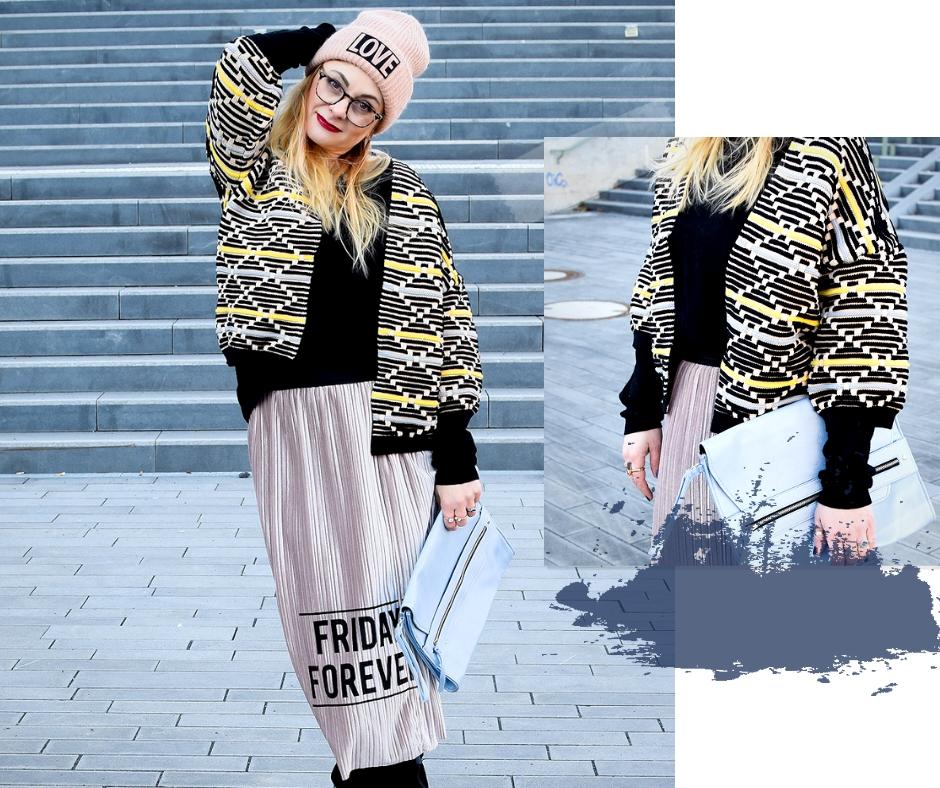Rosa Plisseerock aus Samt. Die besten Röcke für den Winter.