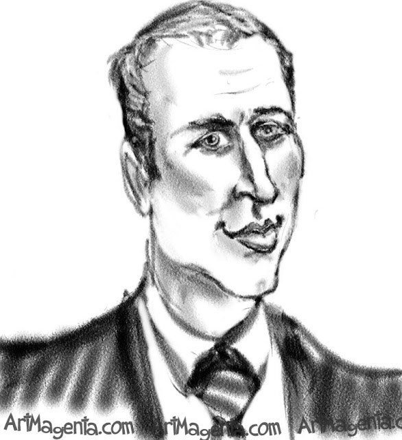 Prince William caricature cartoon. Portrait drawing by caricaturist Artmagenta.