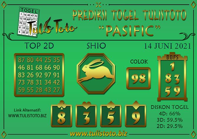 Prediksi Togel PASIFIC TULISTOTO 14 JUNI 2021