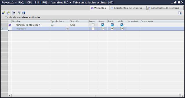 Añadir variable para entrada analógica tia portal v14