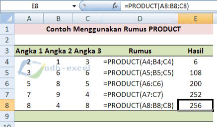 Cara Menggunakan Dan Contoh Rumus Product Dalam Microsoft Excel Adhe Pradiptha