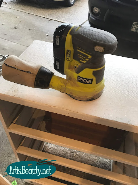 SANDING OLD DRESSER WITH RYOBI CORDLESS SANDER THAN MAKING IT OVER