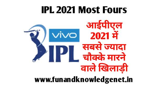 IPL 2021 Mein Sabse Jyada Chauke - आईपीएल 2021 ज्यादा चौके किस खिलाड़ी के है