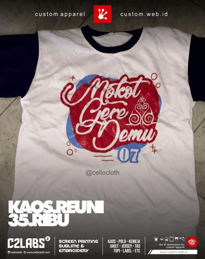 Kaos Reuni 35 Ribu per Pcs Murah Meriah Bahan Polyester - Sablon Kaos Reuni