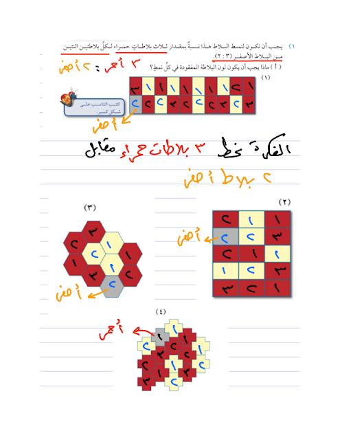 أوراق عمل عن استخدام النسبة والتناسب,في مادة الرياضيات,للصف الخامس الأساسي.