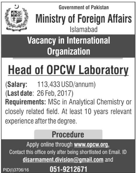Ministry Of Foreign Affairs Islamabad Jobs 2017