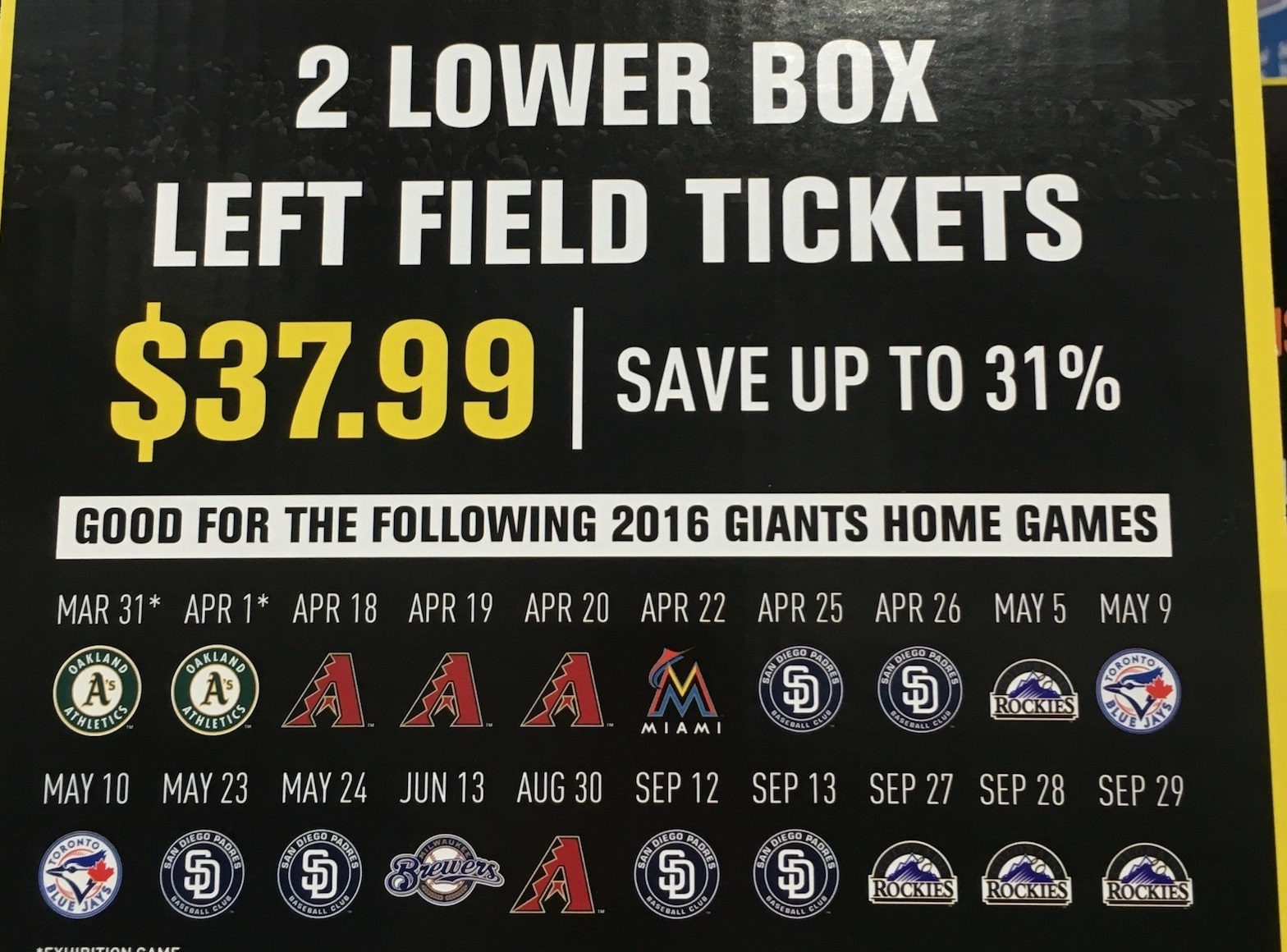 Giants Home Game Schedule