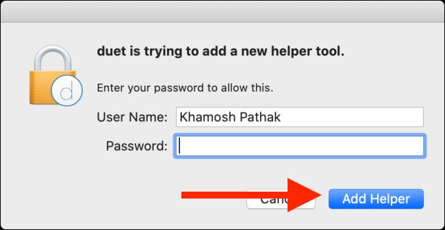 """اكتب كلمة المرور الخاصة بك ، ثم انقر فوق """"إضافة مساعد""""."""