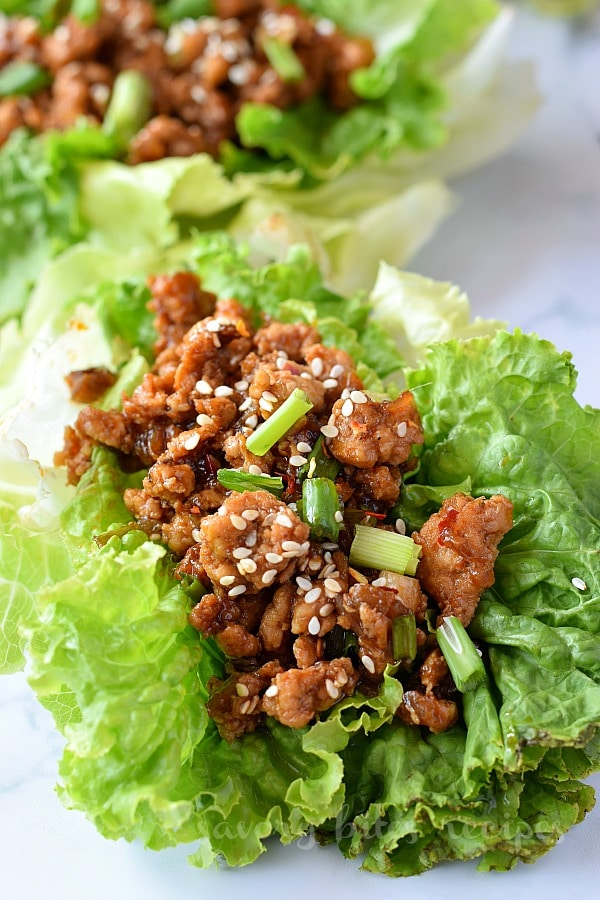 close look of chicken lettuce wraps