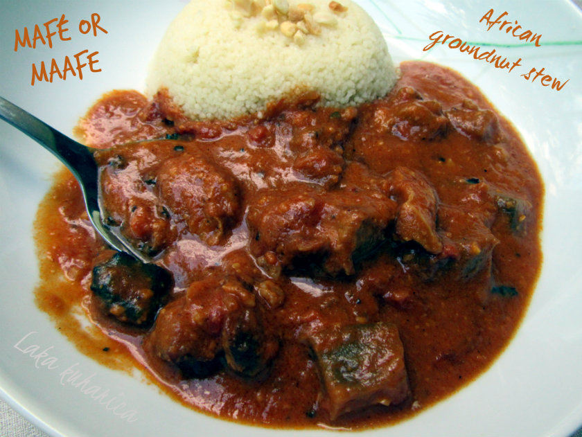 Mafé - African groundnut stew by Laka kuharica: famous stew made with veal, beef and eggplant.