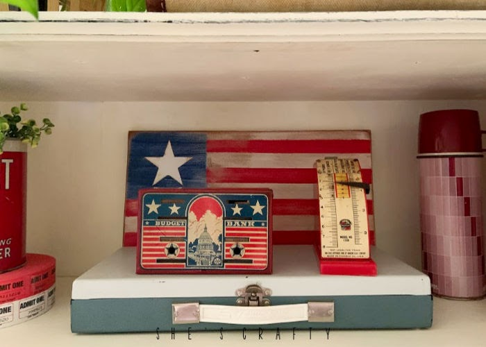 Vintage Farmhouse Home decor - vintage tool boxes, handmade wooden flag, vintage bank, vintage scale