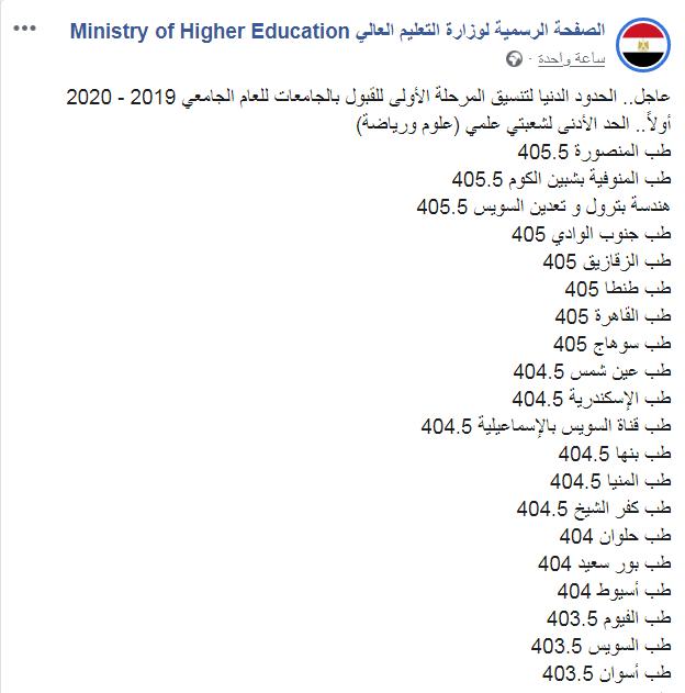 الحدود الدنيا لتنسيق المرحلة الأولى للقبول بالجامعات للعام الجامعي 2019 - 2020