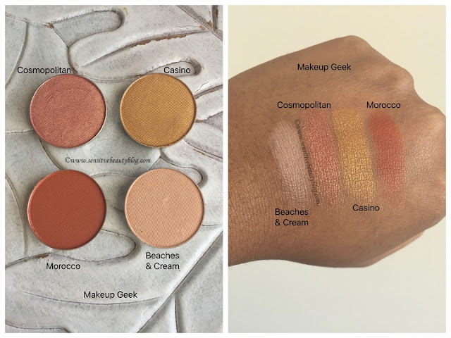 Makeup Geek Eyeshadow swatches (cosmopolitan, casino, beaches and cream, morocco)