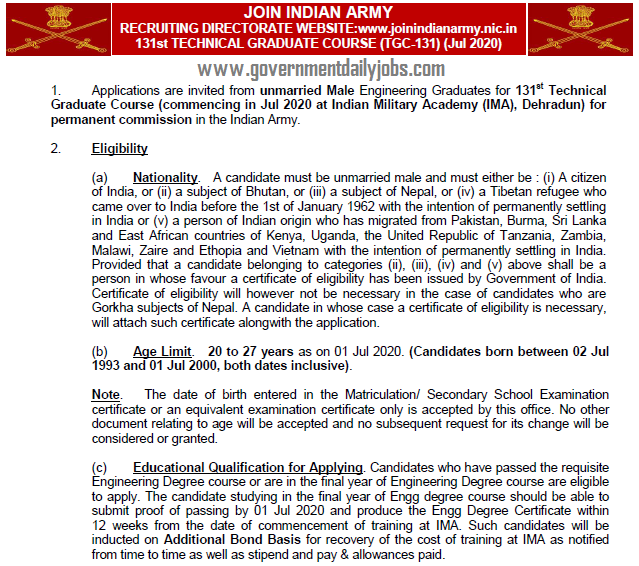 Indian Army TGC Course 131 Jul 2020 Course Job