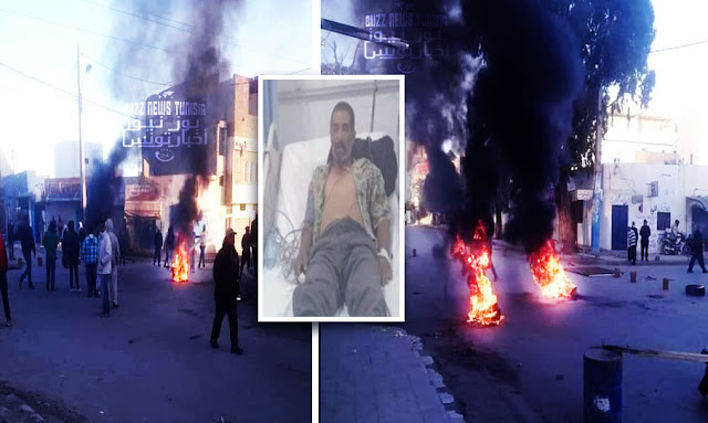 تونس ـ احتجاجات عنيفة وحرق سيارة بلدية في سبيطلة بعد وفاة كهل تحت أنقاض كشك أثناء هدمه