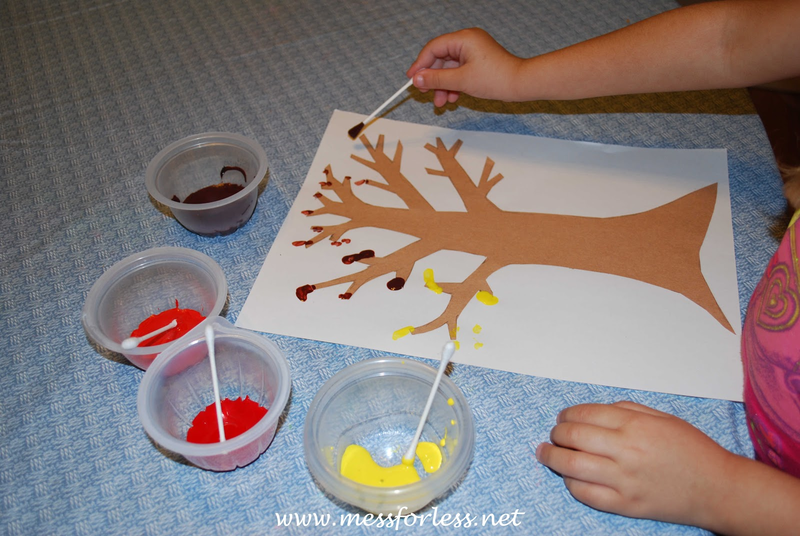 Painting A Q Tip Fall Tree