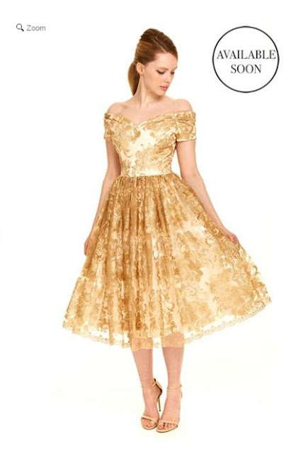 Fatale Gold Baroque Embroidered Prom Dress - The Pretty Dress Company