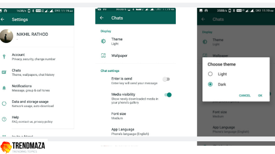how to make dark mode in WhatsApp method