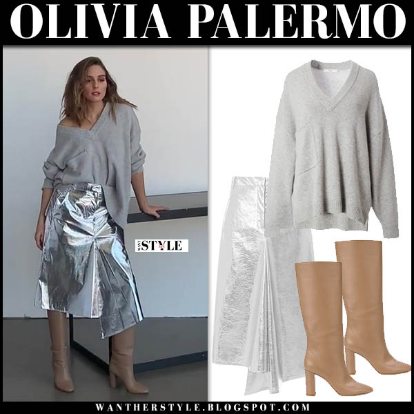 Olivia Palermo in grey tibi sweater, silver metallic tibi midi skirt and beige gianvito rossi knee boots chic winter style november 2018