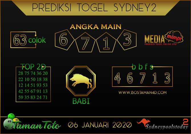 Prediksi Togel SYDNEY 2 TAMAN TOTO 06 JANUARI 2020