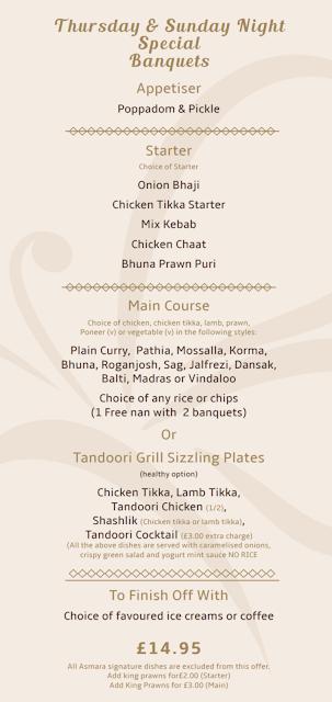 Asmara Blyth Review - banquet menu