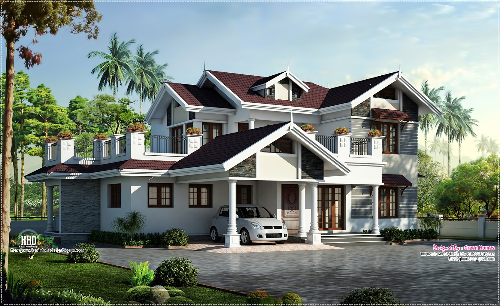 Beautiful villa design in 2750 kerala home for Simple kerala home designs