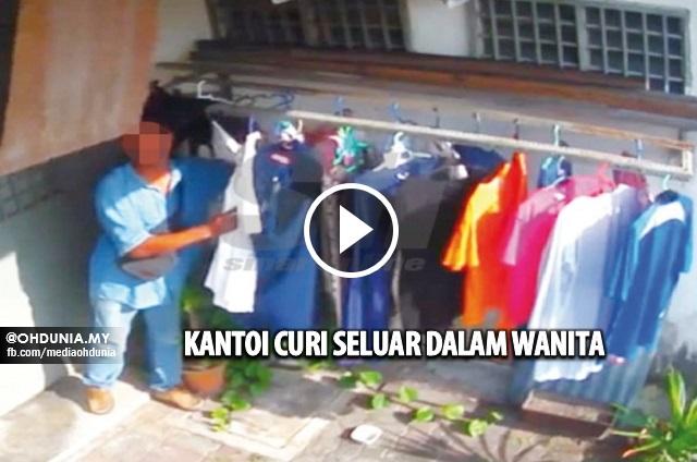 Aksi Pemuda Curi Seluar Dalam Wanita Dirakam CCTV (Video)