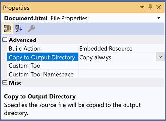 "Visual Studio Properties window showing the ""Copy to Output Directory"" setting"