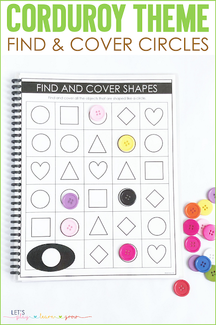 Corduroy: Find and Cover Circle Mat shape activities