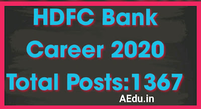 HDFC Bank Career 2020 Apply Bank PO, Bank Clerk, Assistant Manager and Executive 1367 Post
