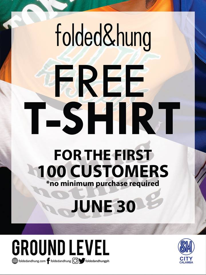 Free T-Shirt from folded & hung at SM City Calamba on June
