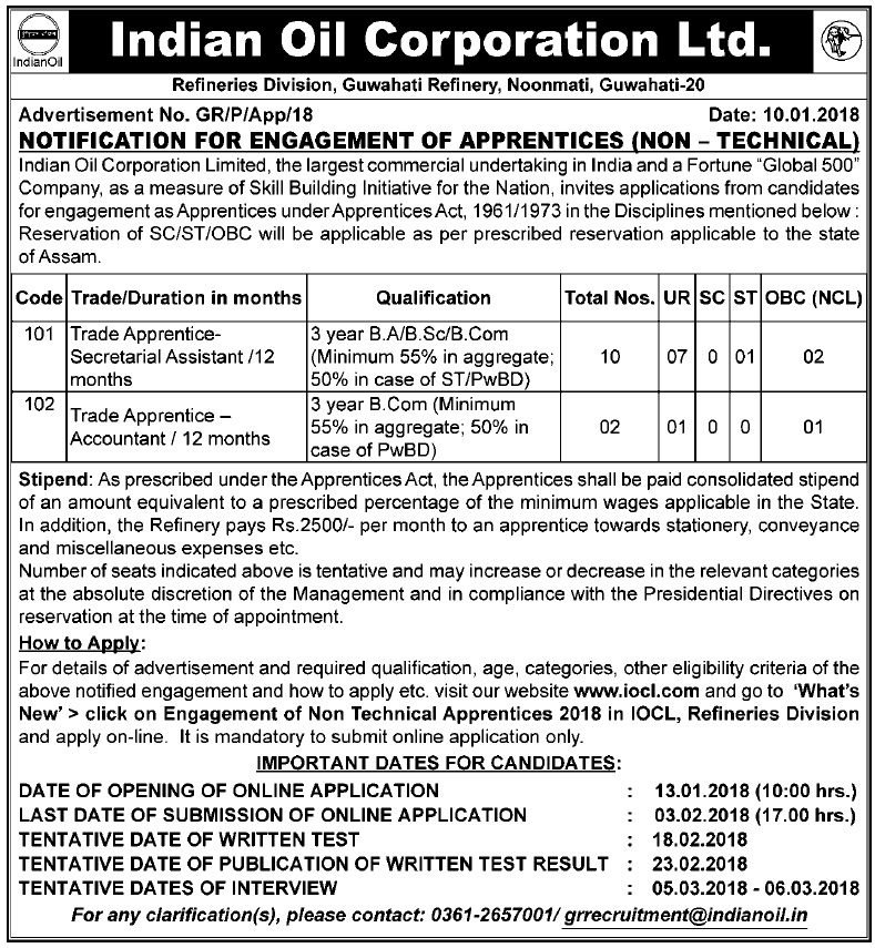 Guwahati Refinery Recruitment 2018